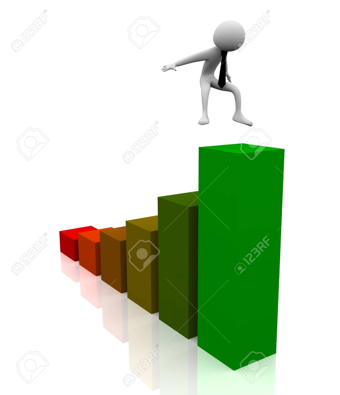 3d man jumping over the green bar Stock Photo - 9181934