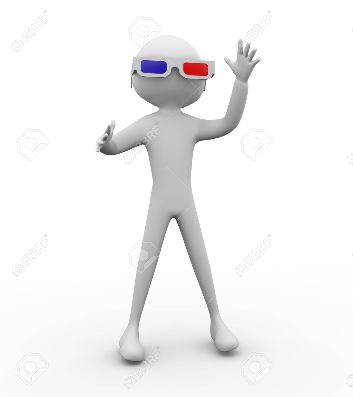 3d man with 3d glasses Stock Photo - 9181946