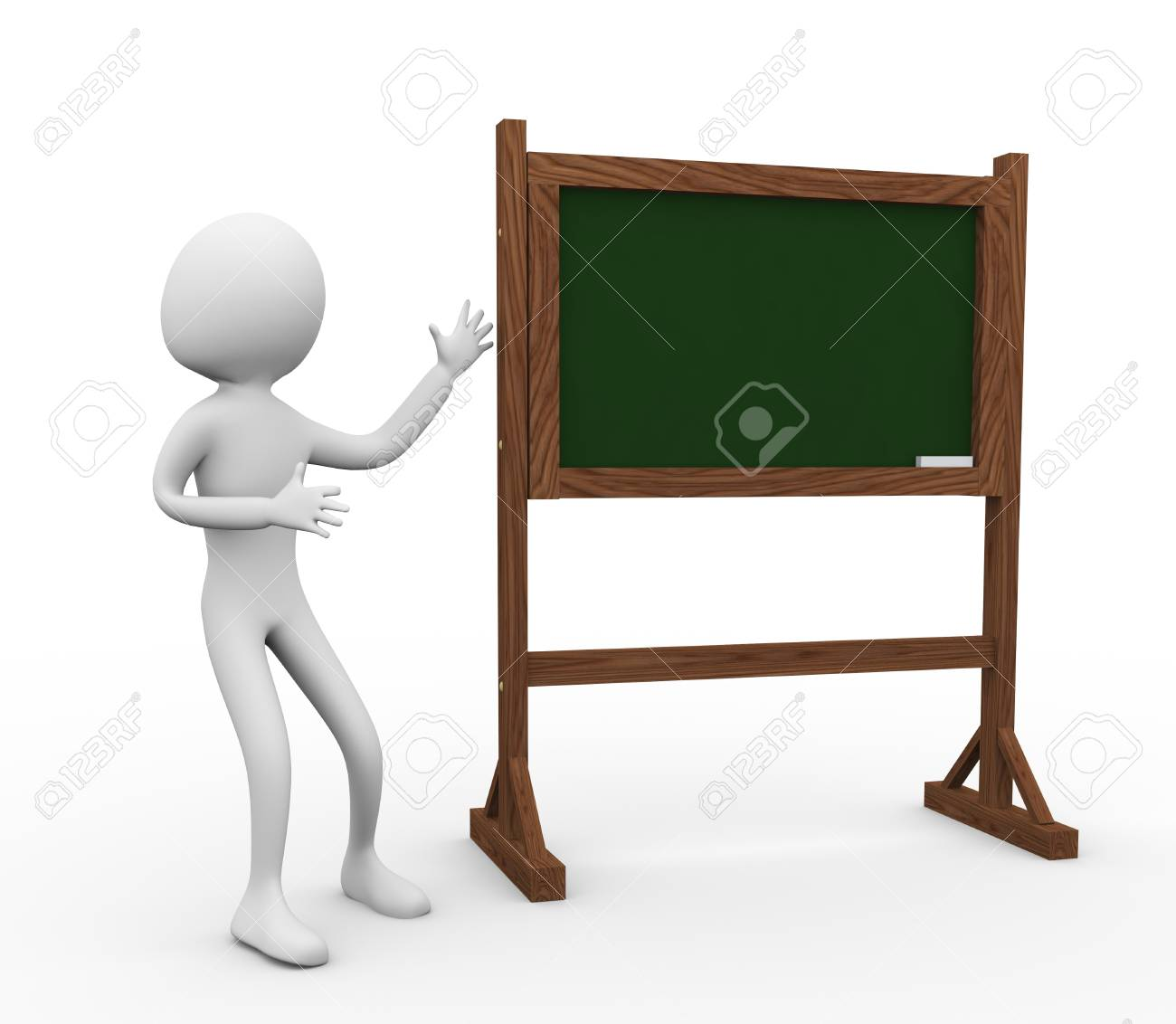 3d man with green chalkboard on a white background Stock Photo - 9182844