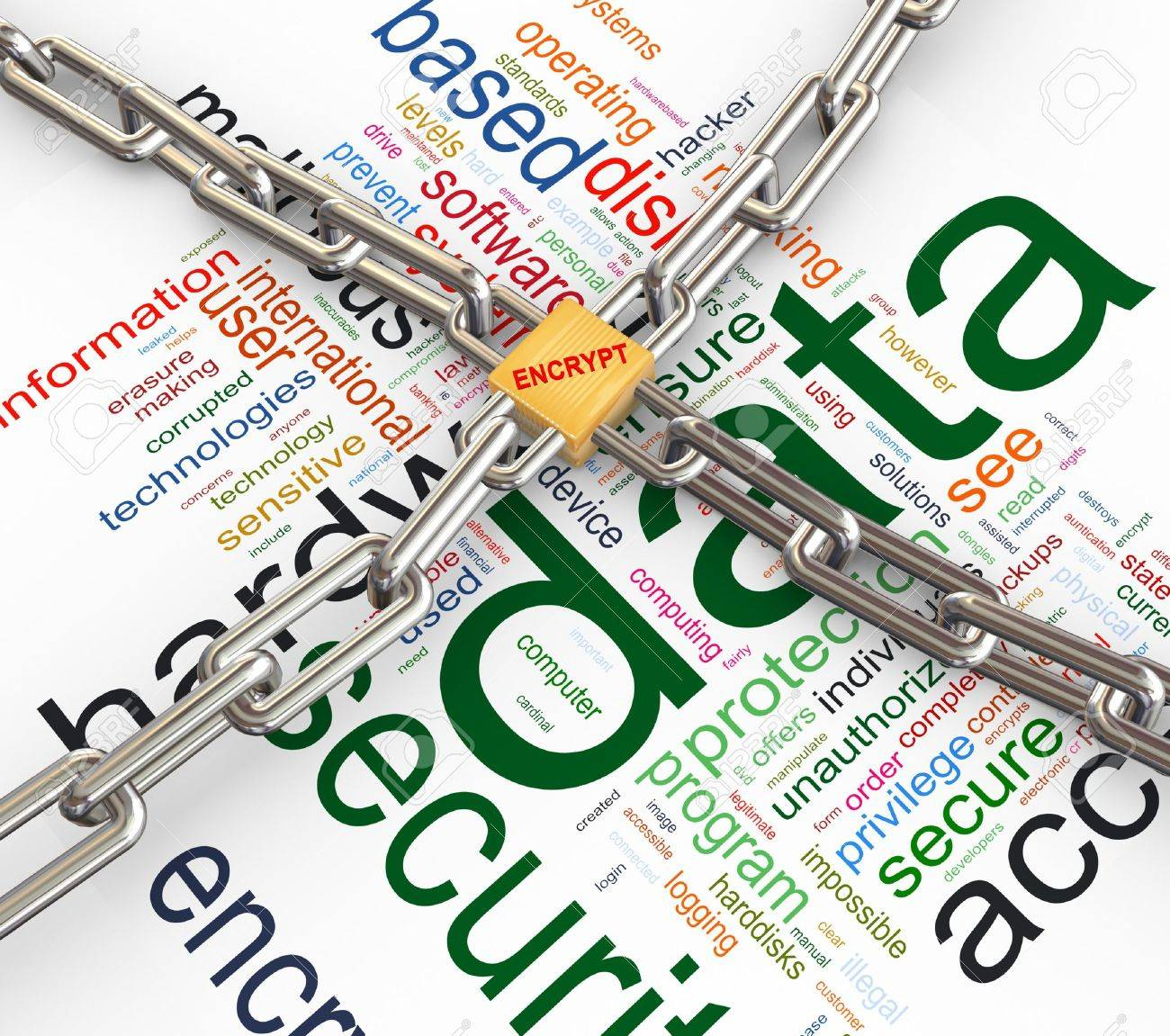 Data protected by chain and padlock on background of Stock Photo - 10027952
