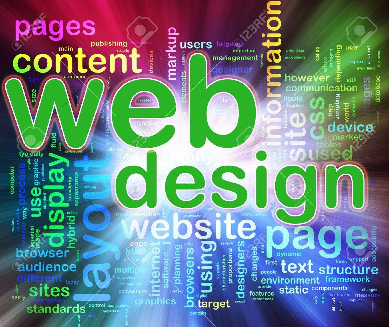 Abstract Background Of Words In A Wordcloud Of Web Design Concept