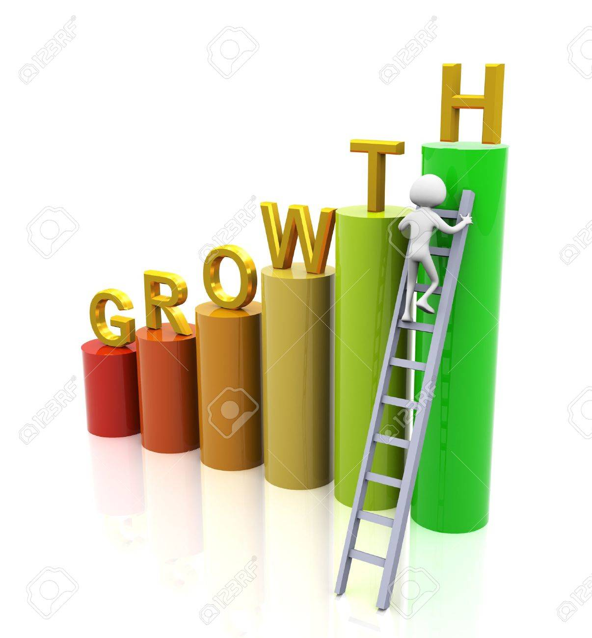3d man climbing ladder of growth Stock Photo - 10326788