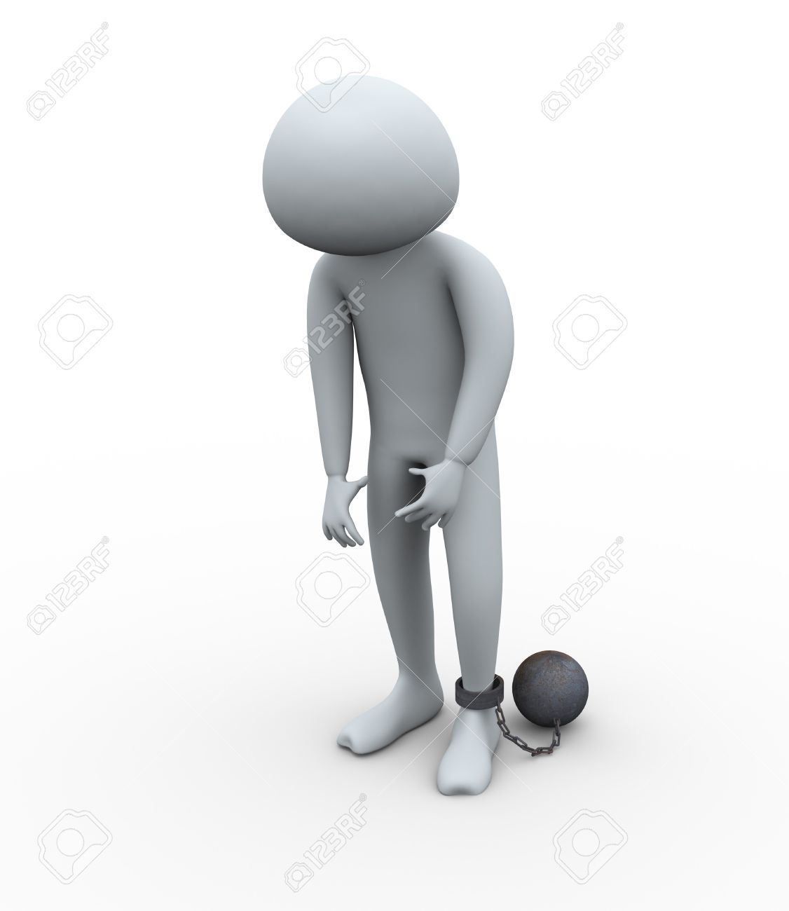 3d render of despair and sad  prisoner tied with iron ball Stock Photo - 10326745