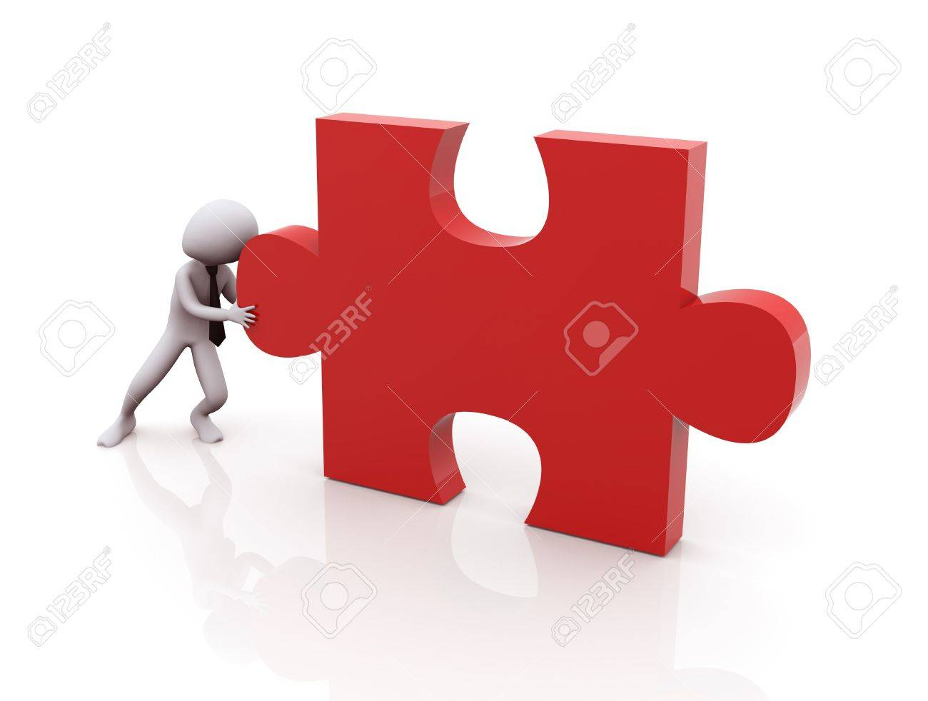 3d man pushing red puzzle peace Stock Photo - 10326727