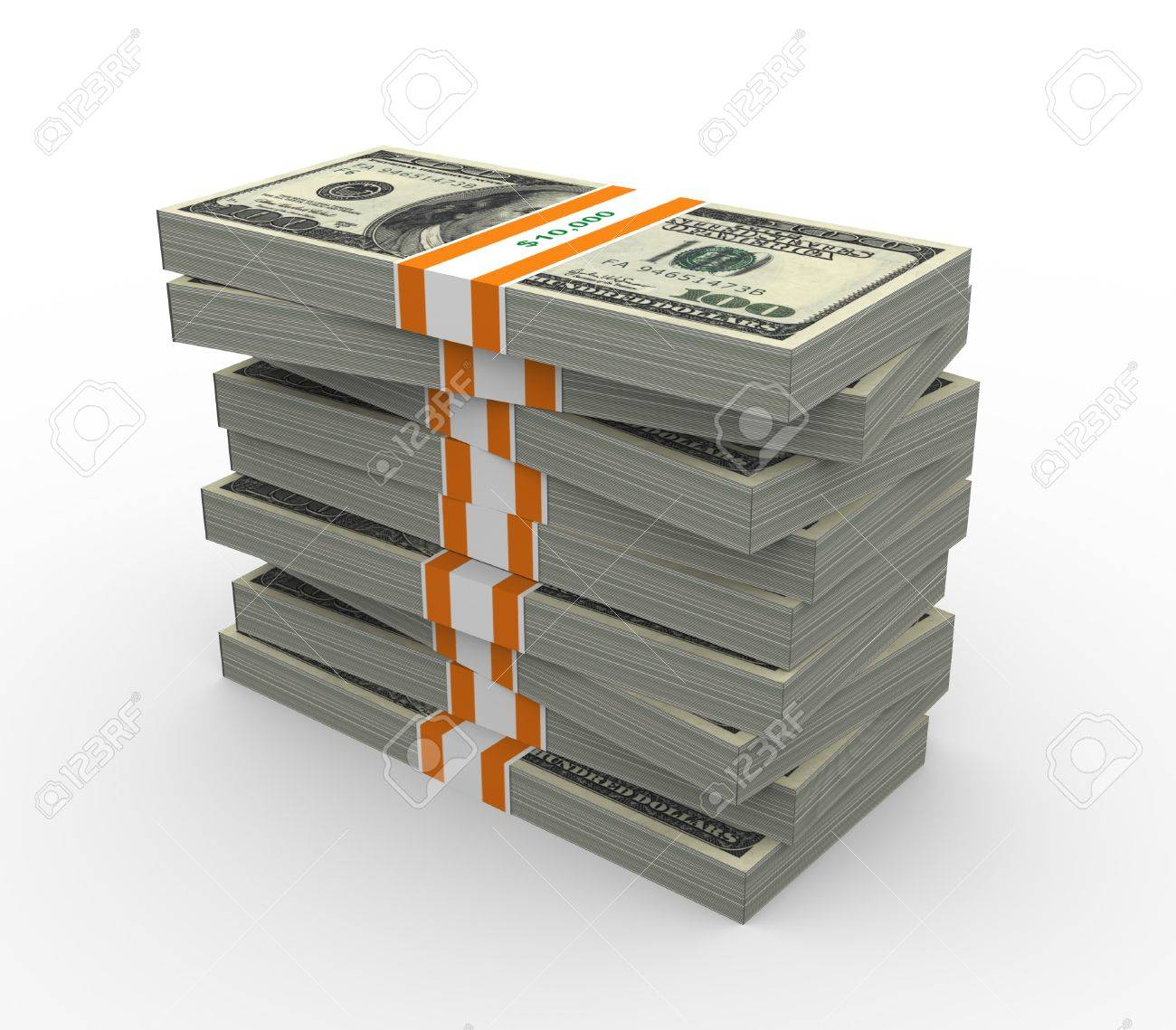 Stack of ten thousand dollar bills. 3d rendered on white background. Stock Photo - 10326808