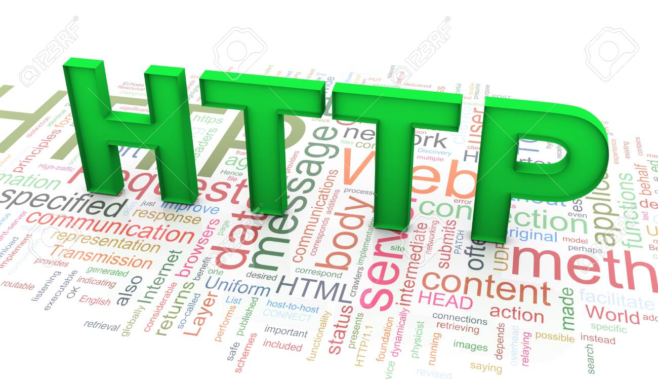 3d green http text on the background of http wordcloud Stock Photo - 10345735