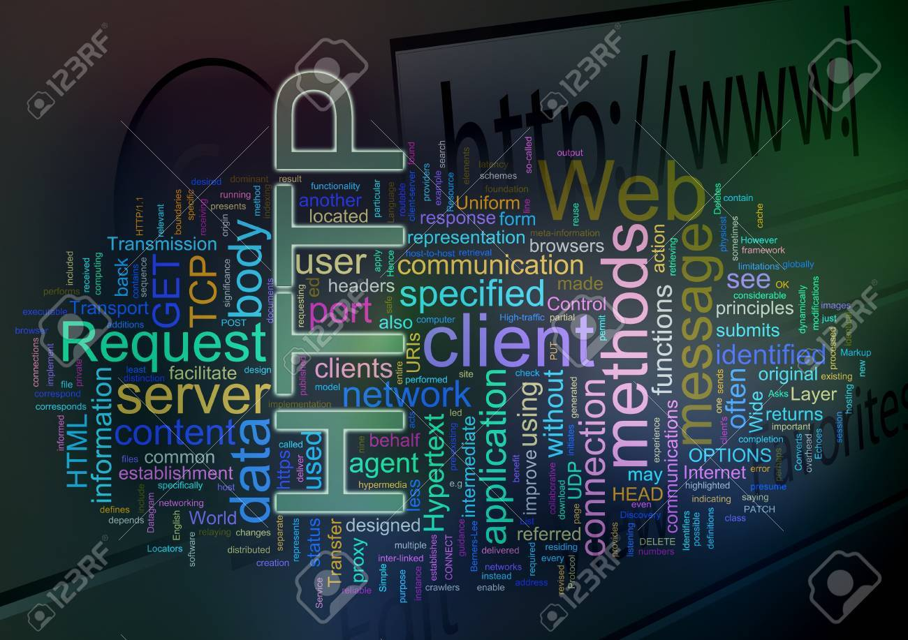Words in a wordcloud of HTTP. Concept of internet, web browsing, global networking Stock Photo - 10345762