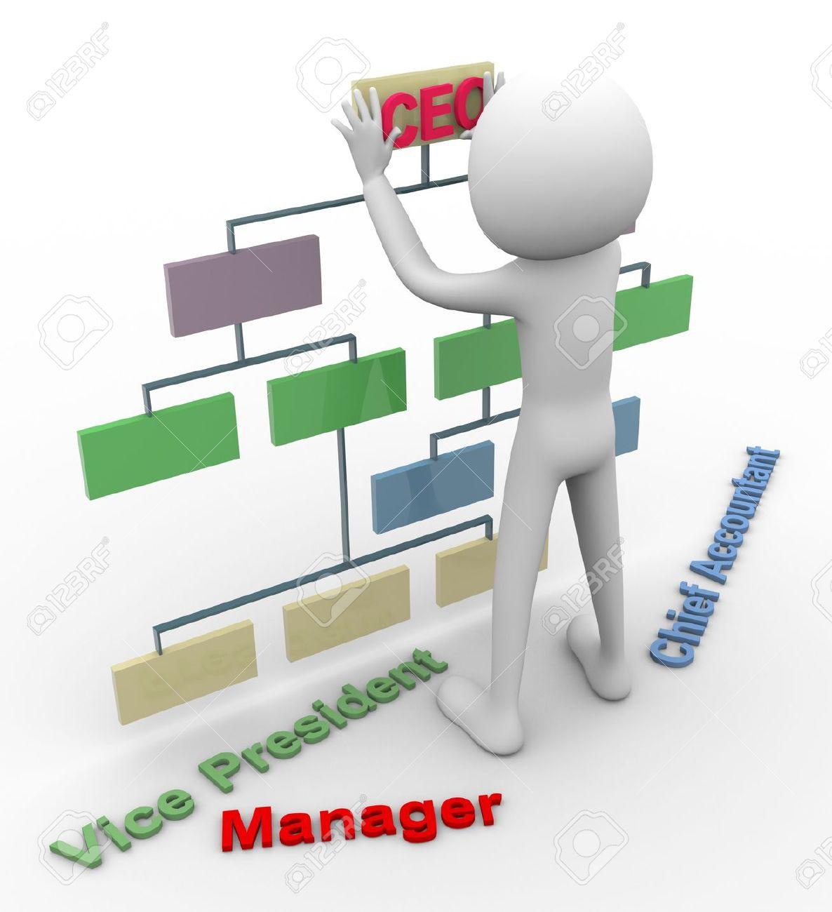 3d man filling blank organizational chart - 10402473