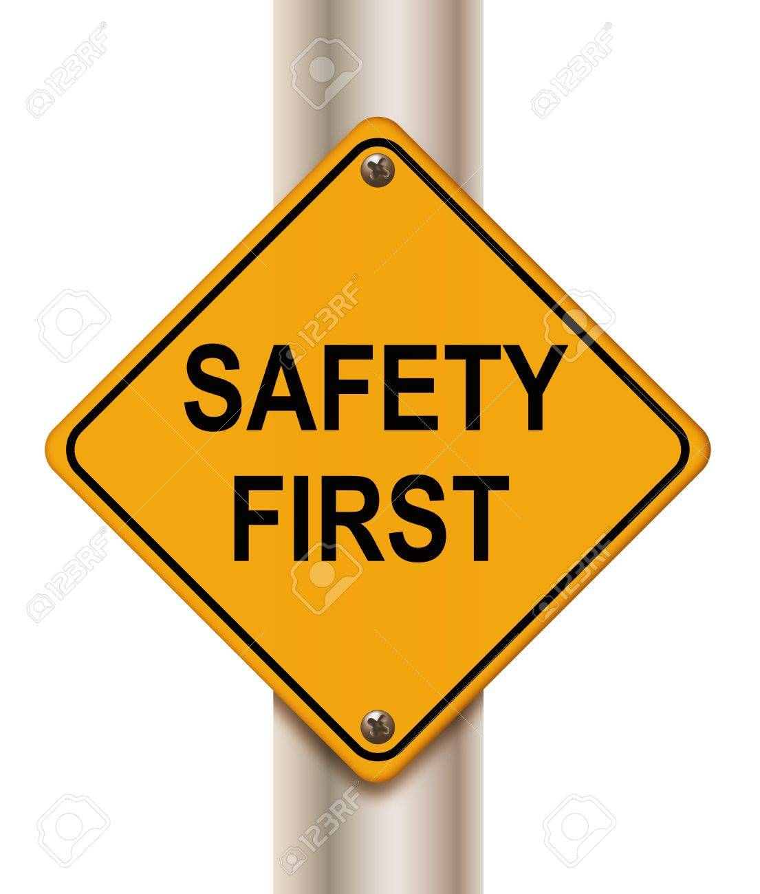 Road sign 'safety first' on white background Stock Photo - 10402536