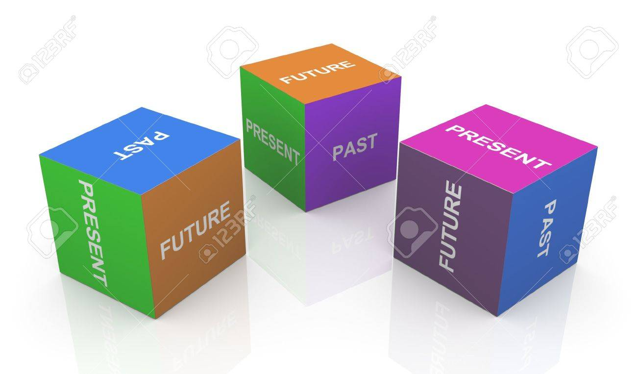 3d Render Of Present, Past And Future Word Cubes Stock Photo ...