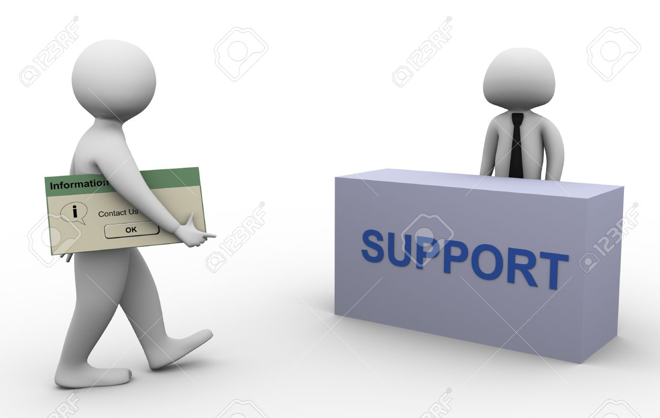 3d man with 'contact us' messagebox walking toward support person Stock Photo - 10402350