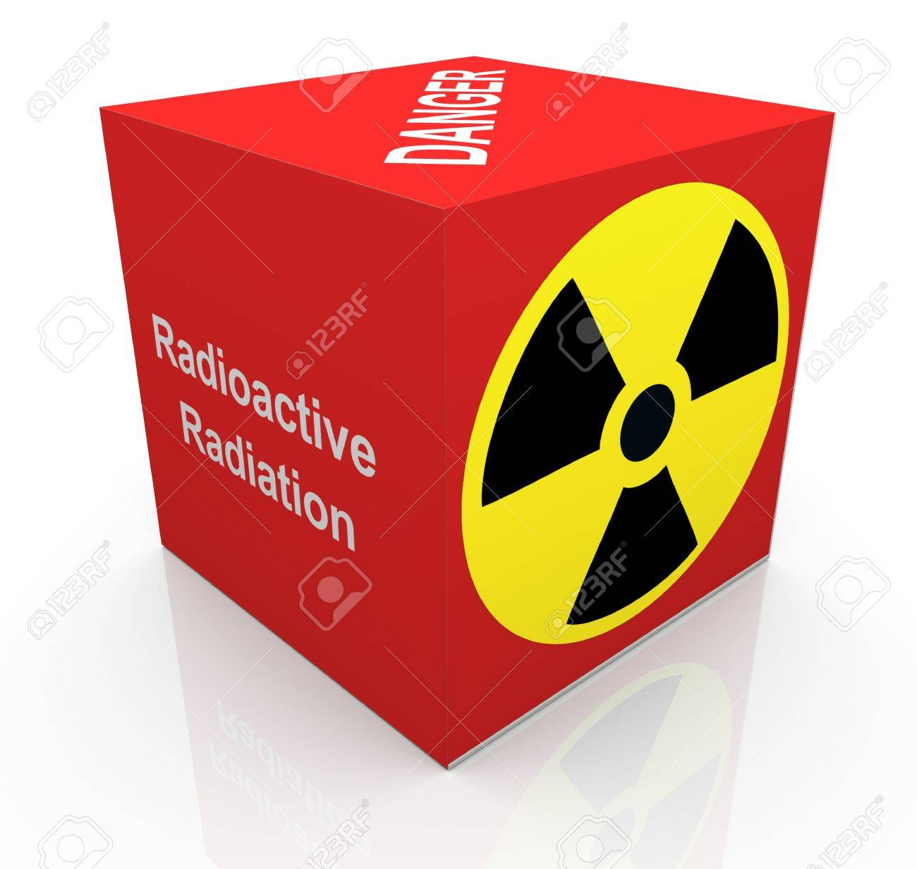 3d render of cube with radioactive radiation symbol and text Stock Photo - 10402506