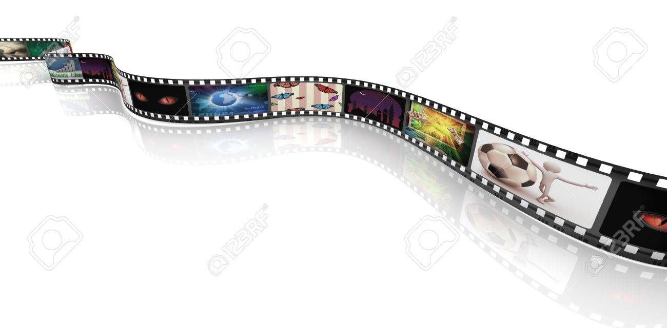 3d render of film strip with images Stock Photo - 10743766