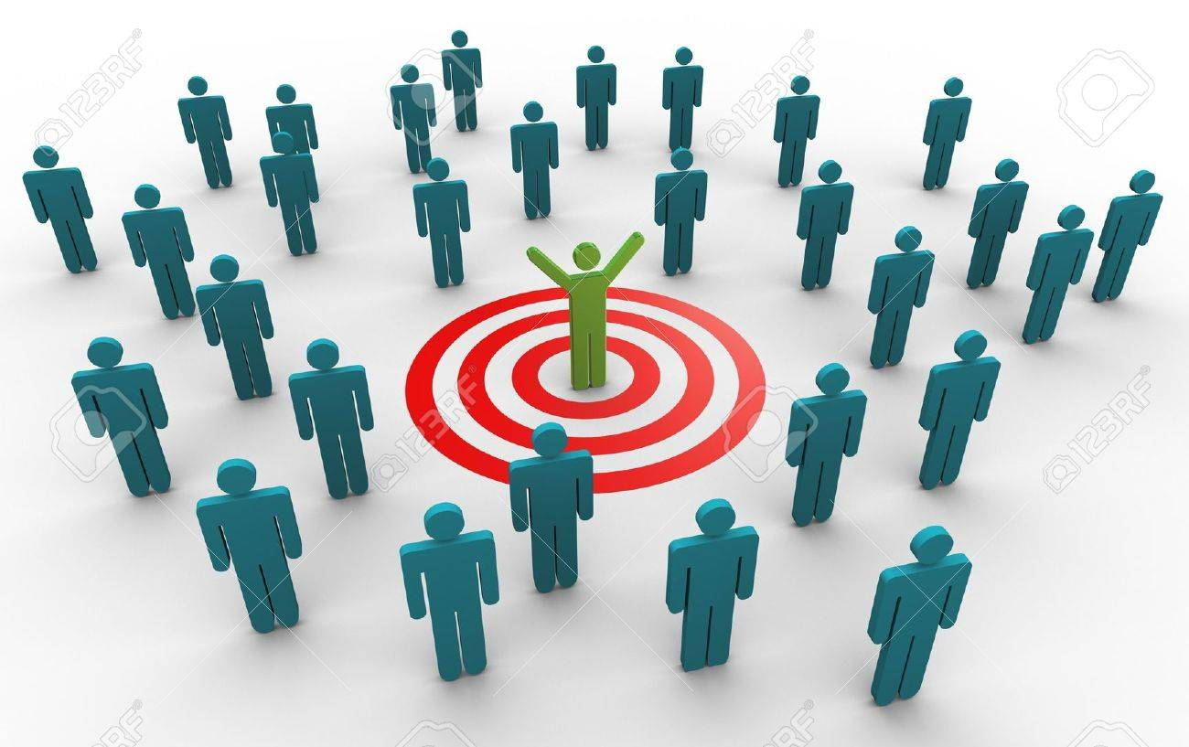 3d Man Successfully Achieved His Target Concept Of Goal Achievement Stock Photo