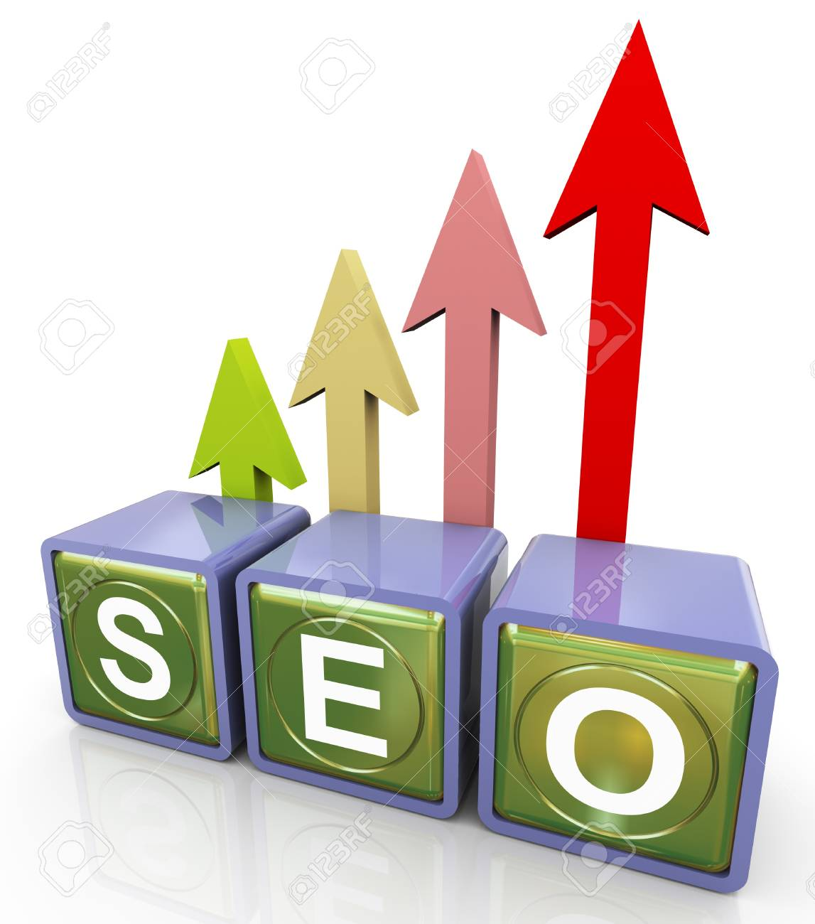 3d reflective seo (search engine optimization ) text box with progress arrow Stock Photo - 10991957