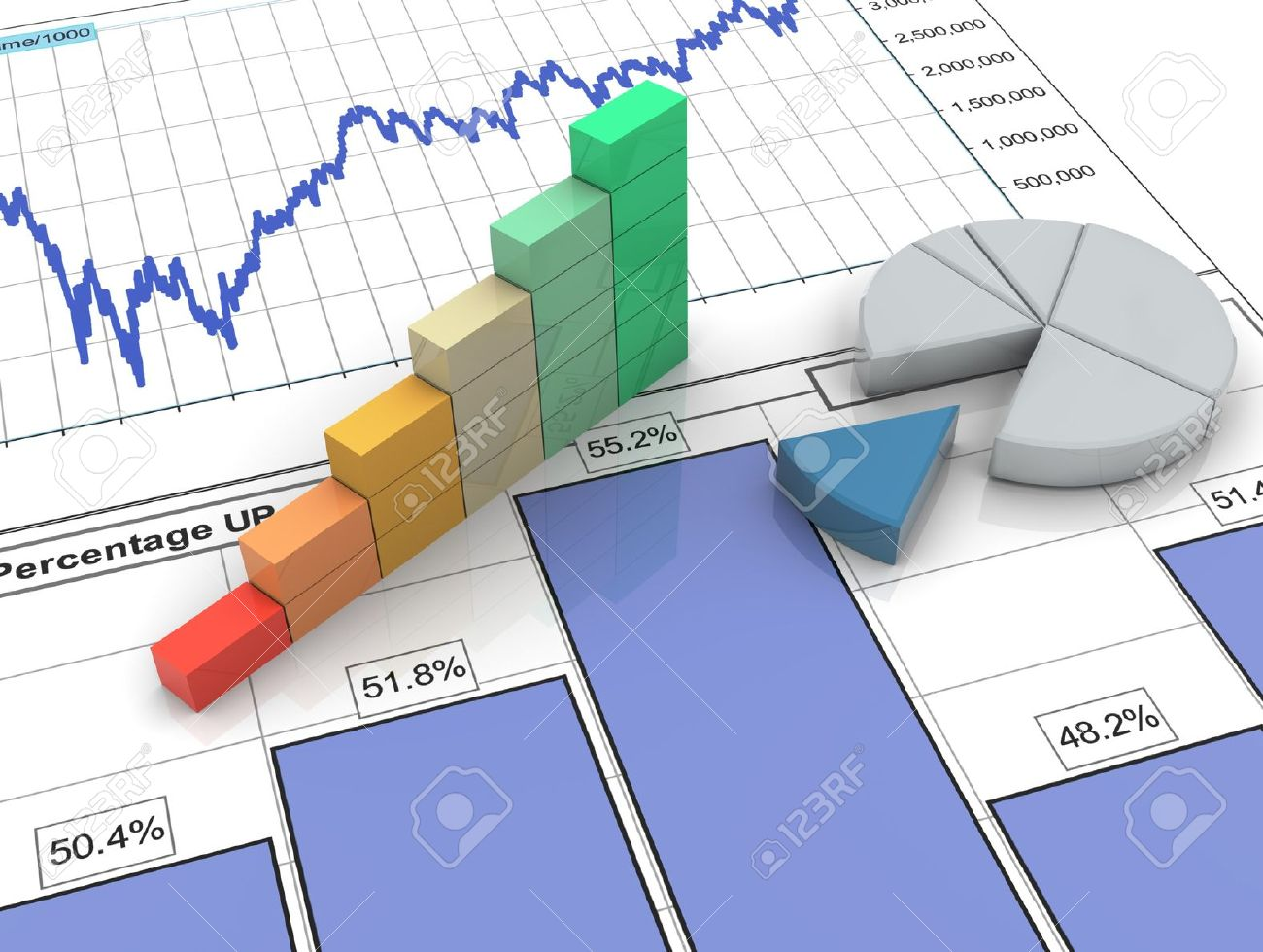 3d Progress Bar And Pie Chart On Financial Analysis Report Stock Photo    11074205