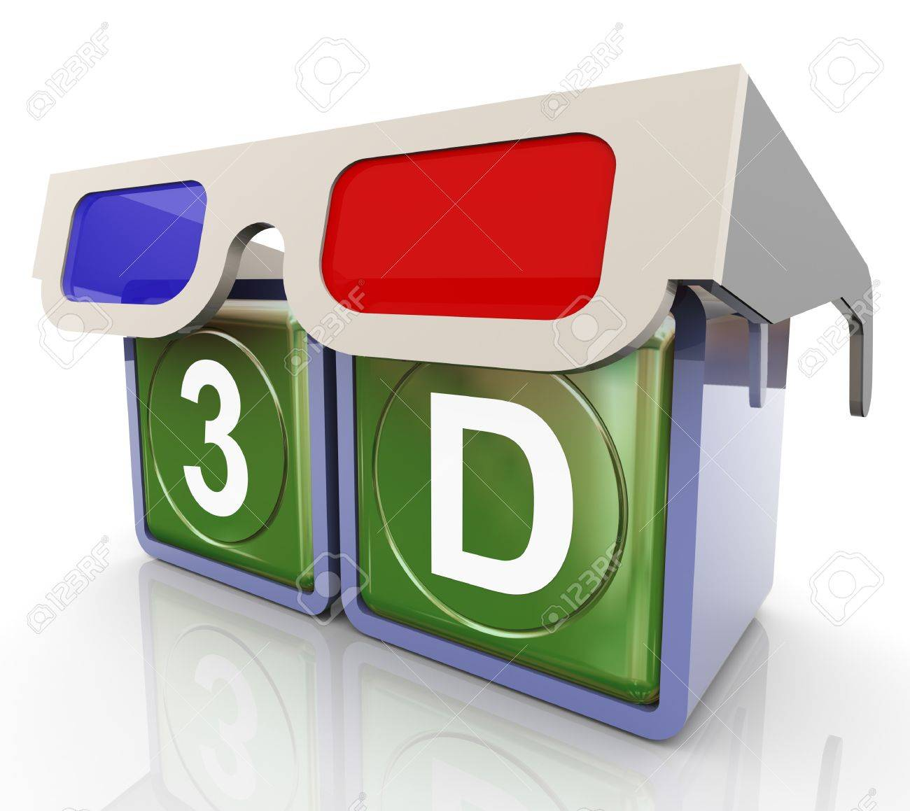 3d render of 3d glass with 3d text box Stock Photo - 11074193