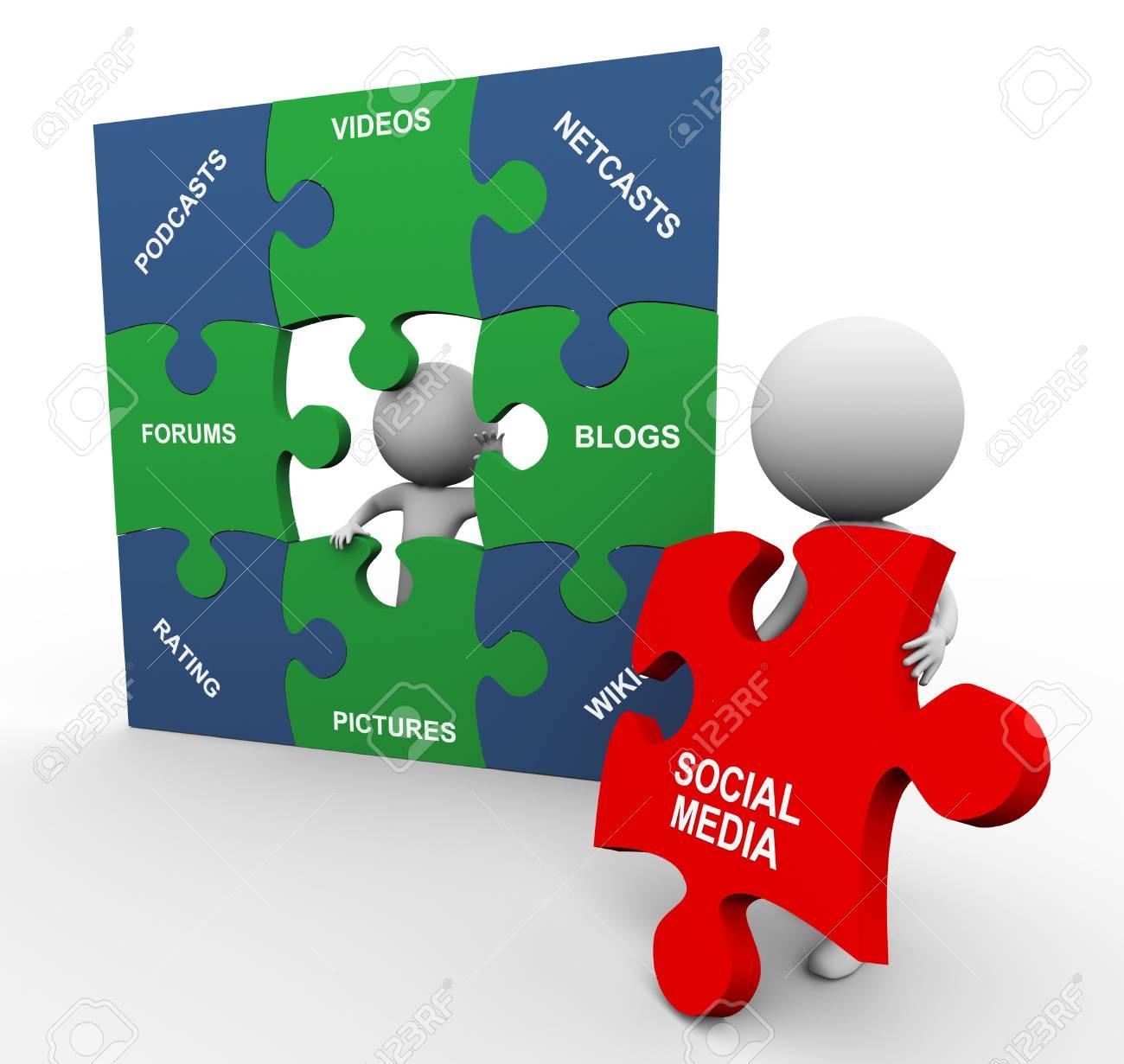 3d men completing social media puzzle Stock Photo - 11074195