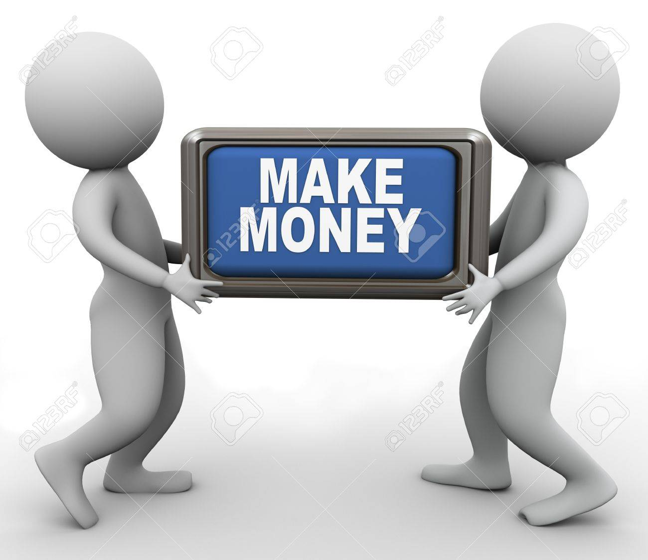 3d men holding 'make money' button Stock Photo - 11404243