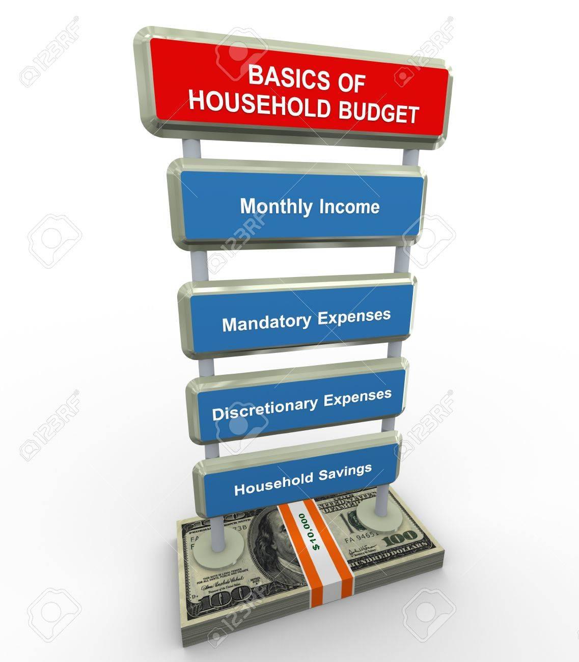 3d render of household budget basics concept Stock Photo - 11404257