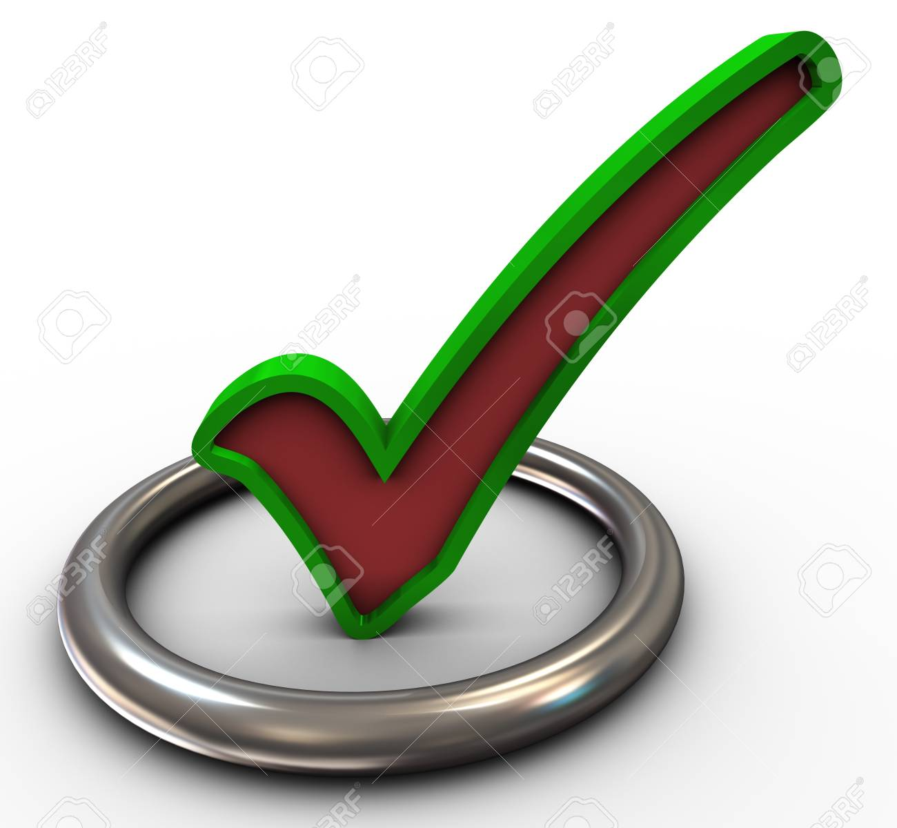 3d Render Of Check Mark Symbol In Circle Stock Photo Picture And