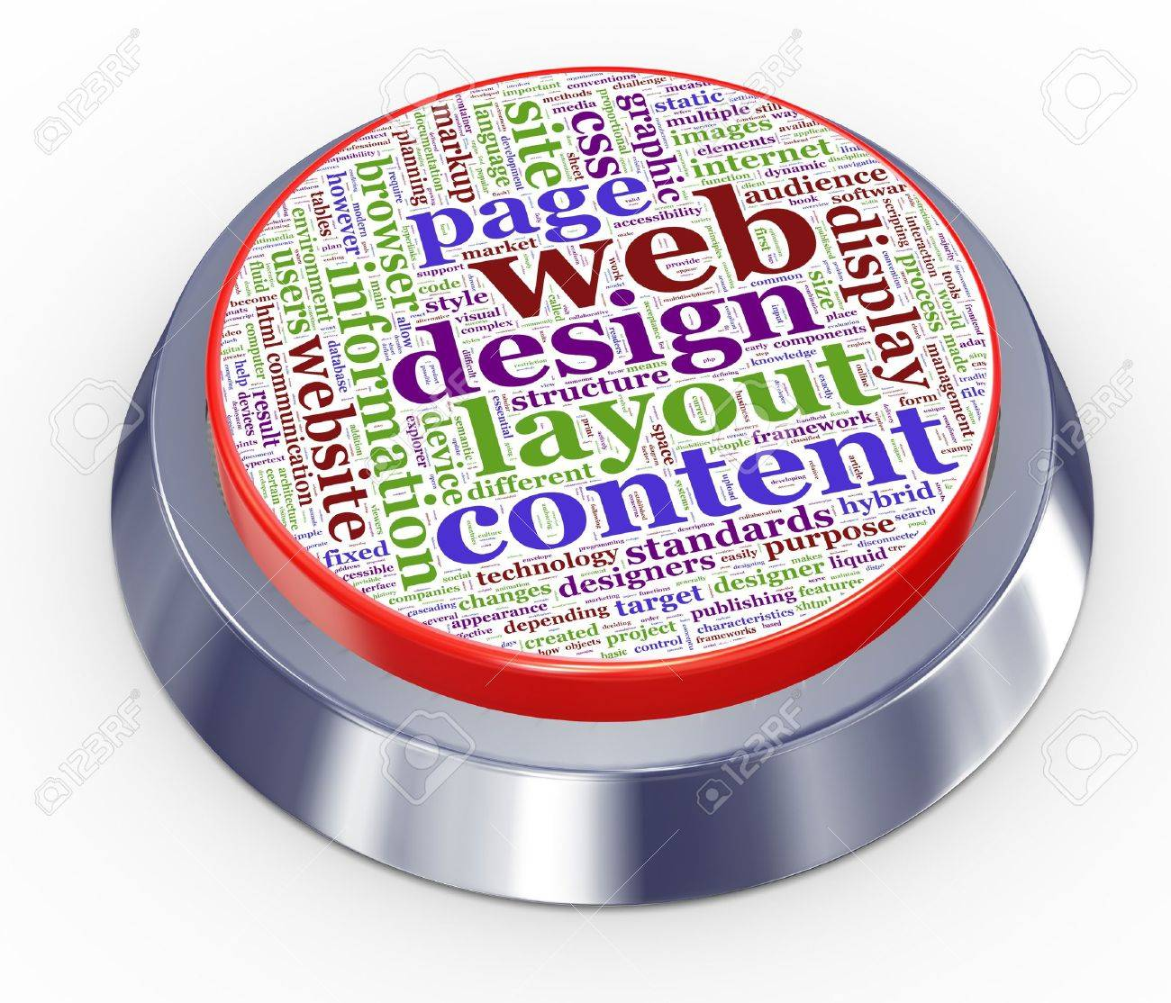 3d render of web design button Stock Photo - 12078565