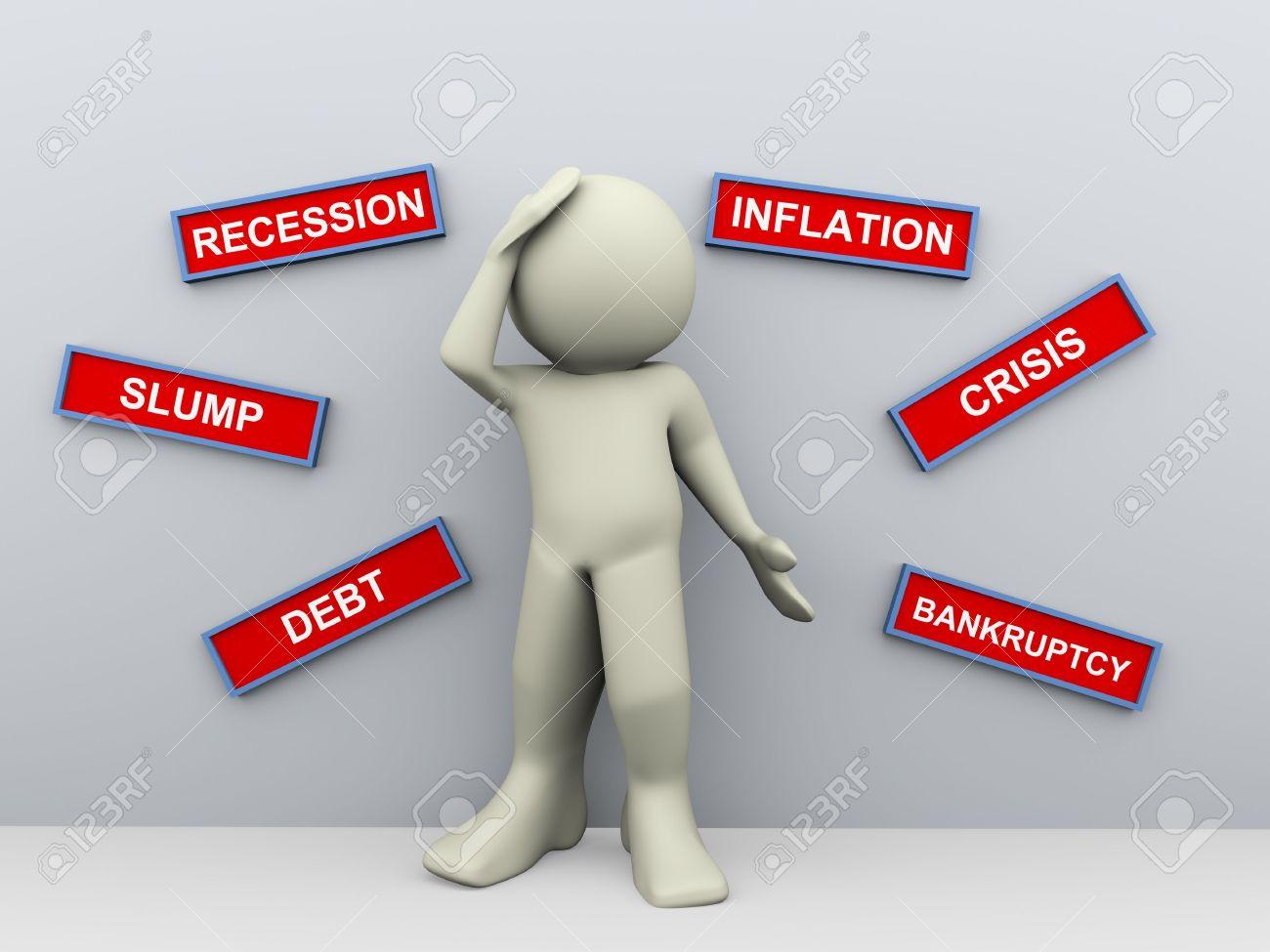 3d render of financially upset worried business man Stock Photo - 12832611