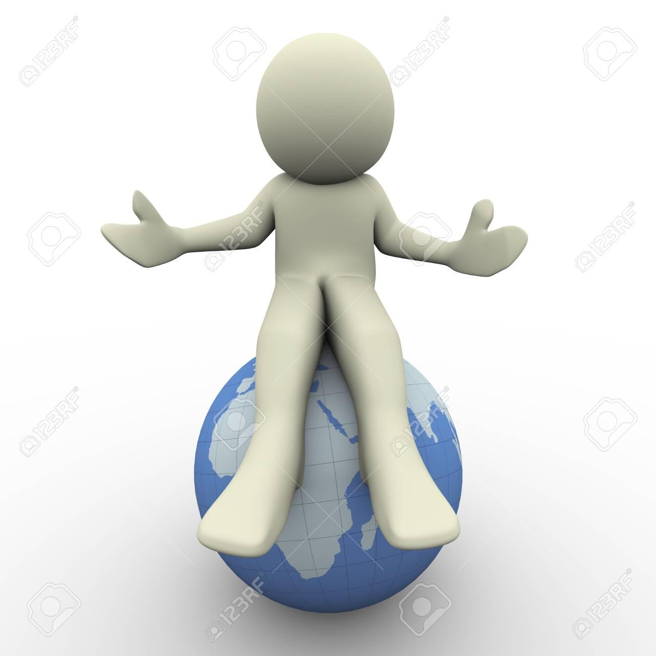3d render of man sitting on globe  3d illustration of human character Stock Illustration - 12832604