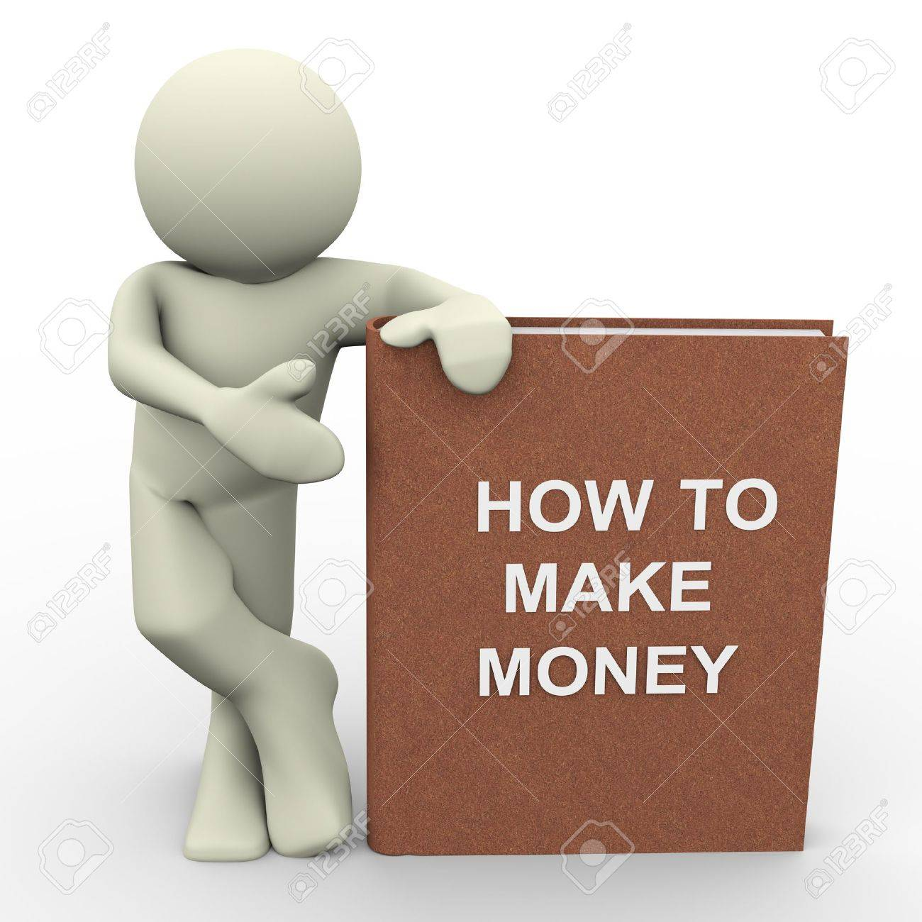Earn Money: 3d Render Of Man With How To Make Money Book Human Character 3d