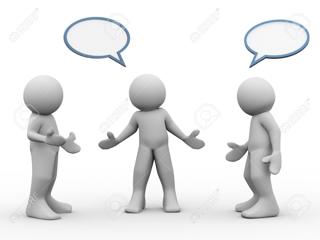 Men holding the word party concept 3d illustration stock photo - Group Discussion 3d Render Of People Taking And Discussion