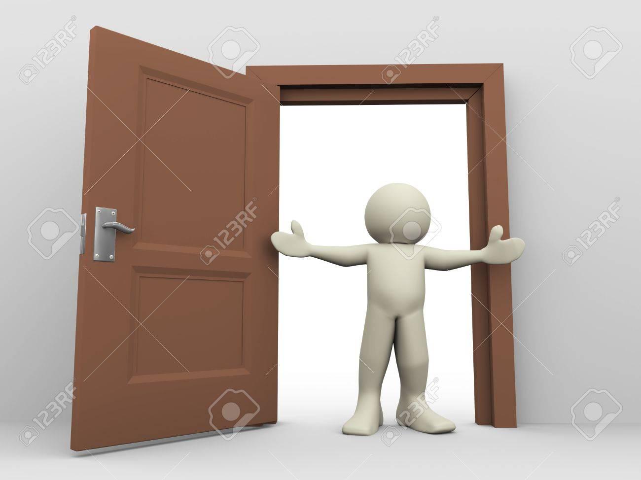 3d Render Of Man In Front Of Open Door 3d Illustration Of Human