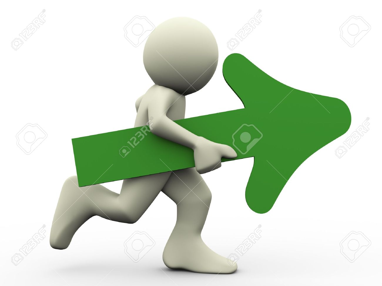 Men holding the word party concept 3d illustration stock photo - Action Plan 3d Render Of Running Man Holding Green Arrow In His Hand 3d Illustration