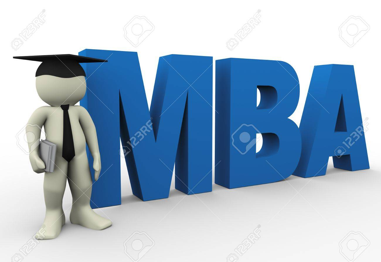 3d render of man with word mba  3d illustration of human character Stock Illustration - 13186084