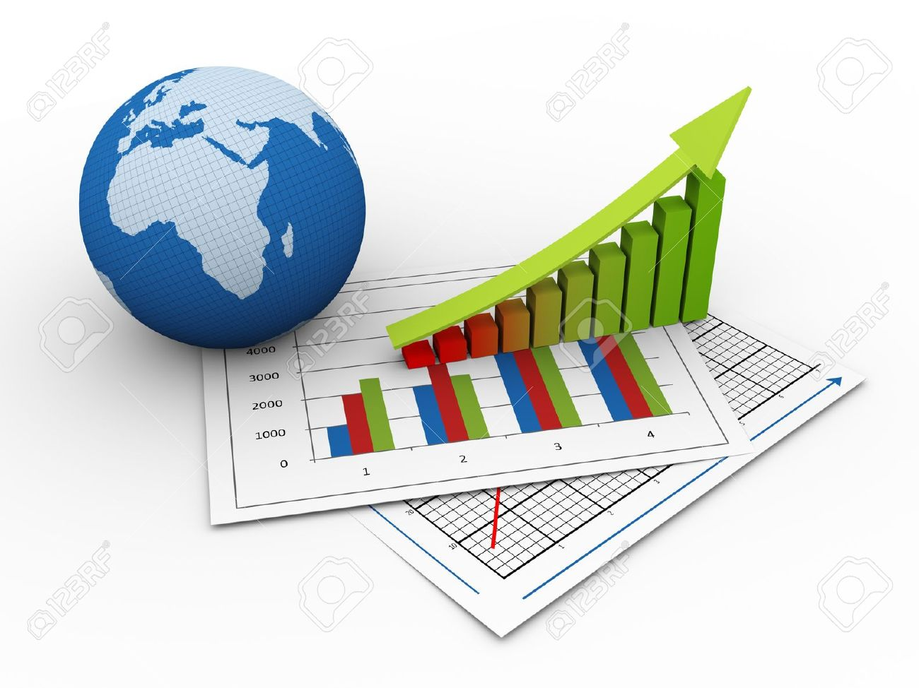 3d render of globe and progress bars on financial paper  concept of global financial growth Stock Photo - 13278546