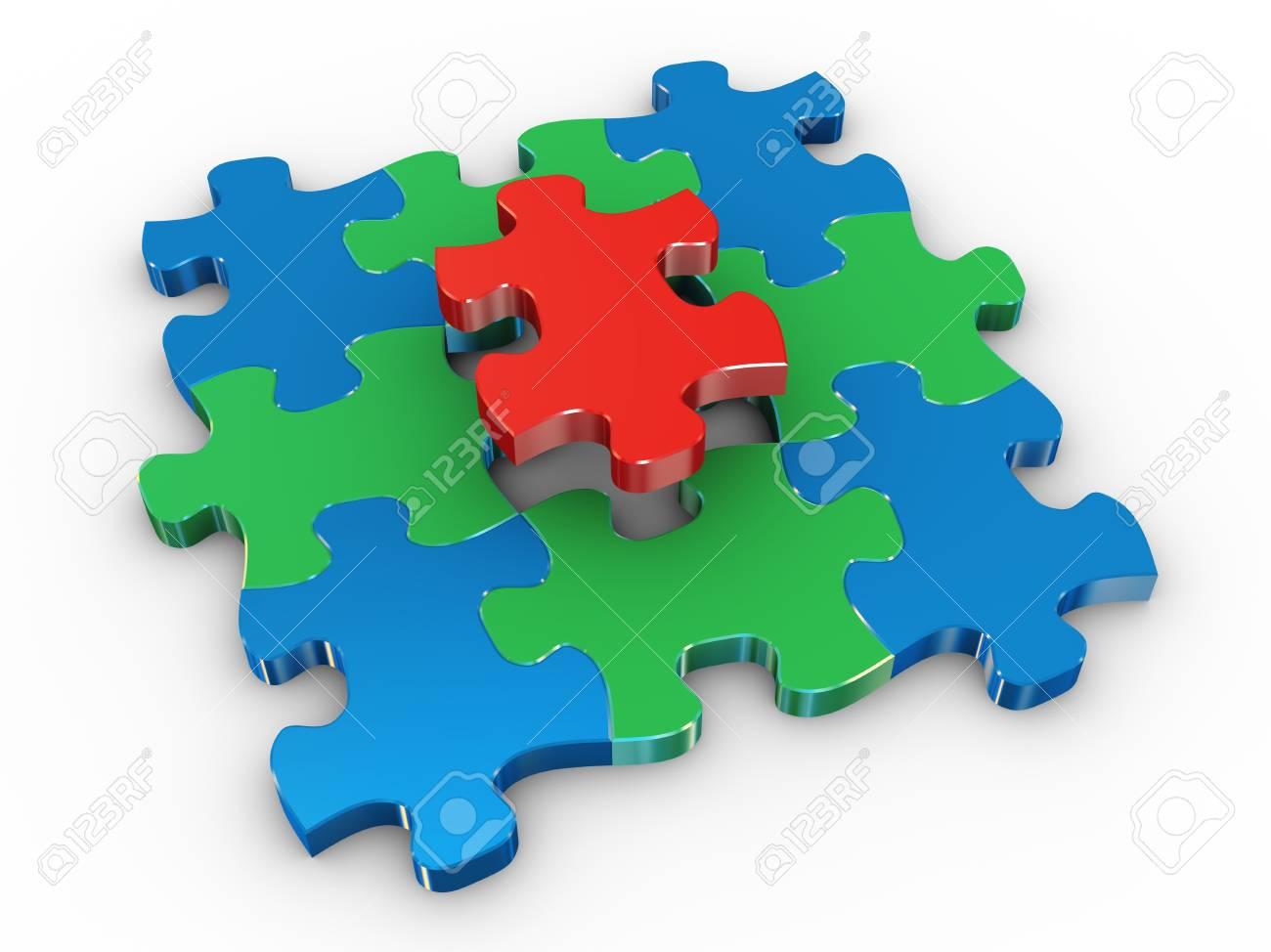 3d render of solved puzzle on white background Stock Photo - 13414729