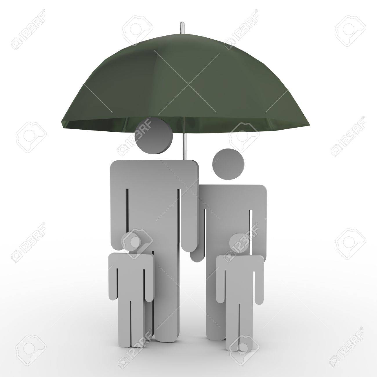 3d render of family under umbrella  Concept of family insurance Stock Photo - 13609305