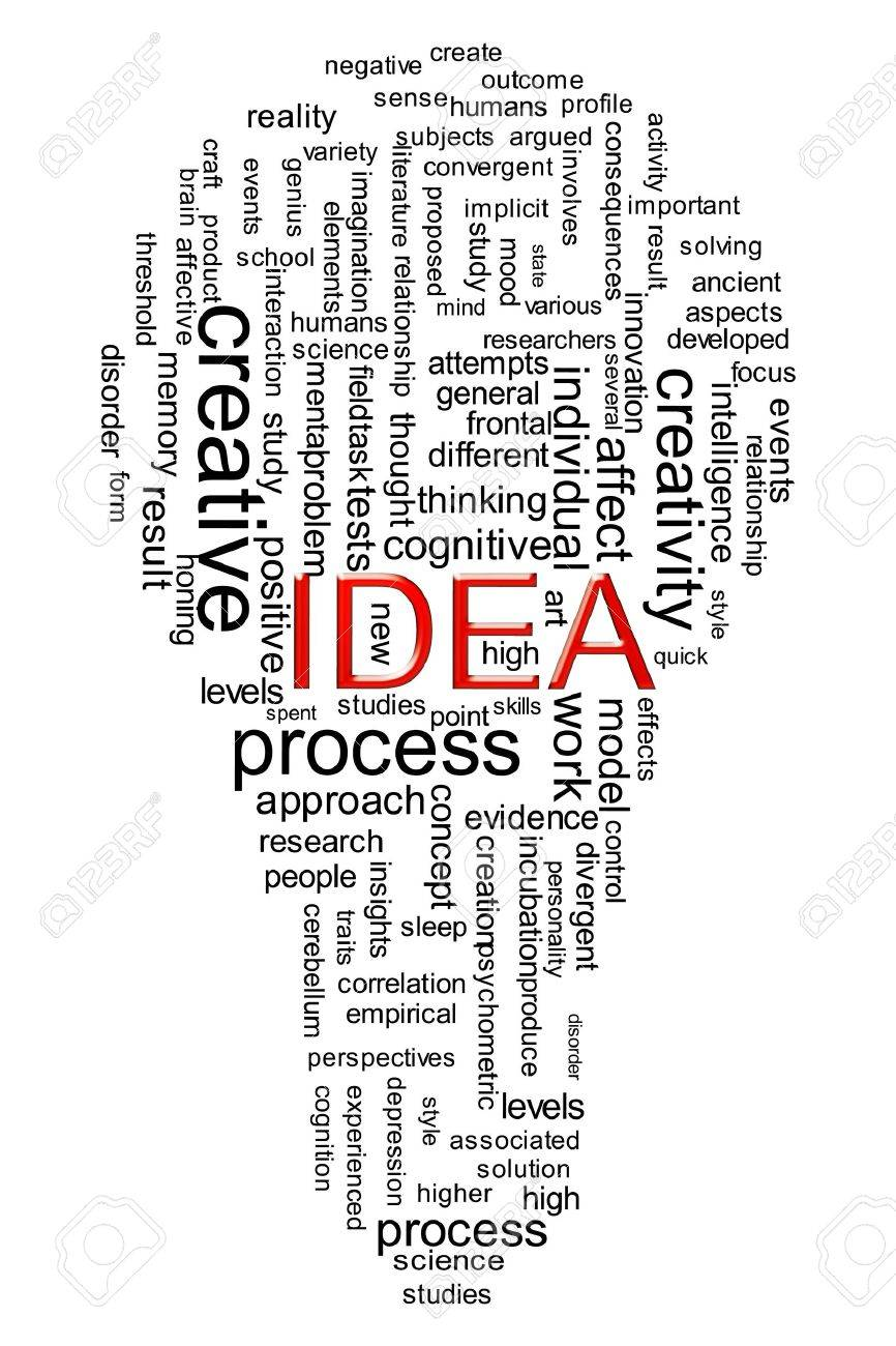 Illustration of idea wordcloud created in bulb shape Stock Illustration - 13609314