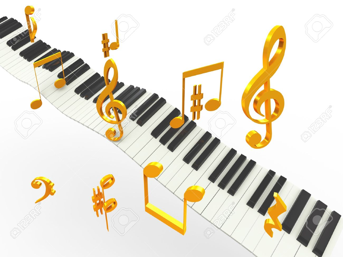 3d Music Piano Keys With Golder Musical Notes Symbols Stock Photo