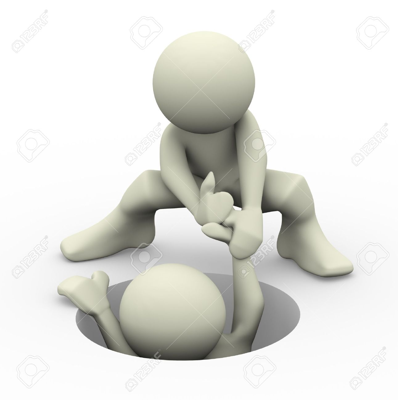 3d render of a person helping another man  3d illustration of human character people Stock Illustration - 14296015