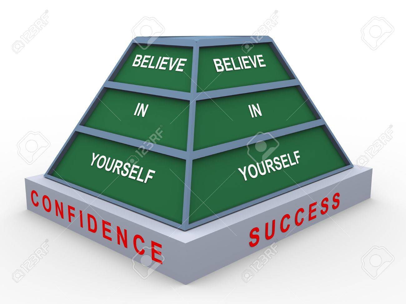 3d render of pyramid of text believe in yourself Stock Photo - 14296026