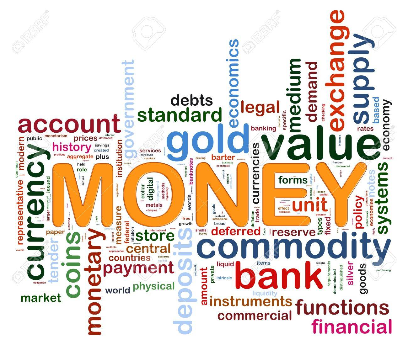 Illustration of wordcloud representing words related to money Stock Illustration - 14520236