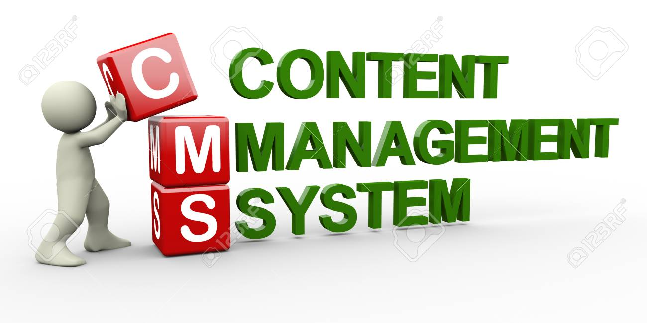 3d person placing cms content management system cubes. 3d human people character illustration Stock Photo - 17247259
