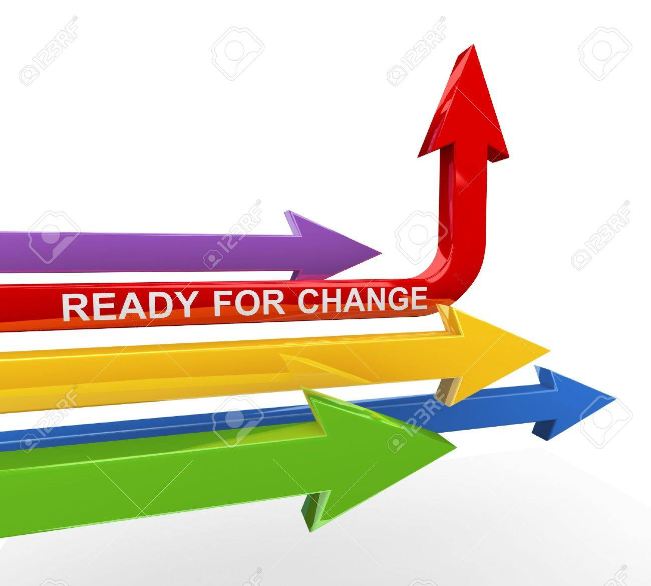 3d render of various arrows with red unique arrow turning upward with text ready for change Stock Photo - 17915038