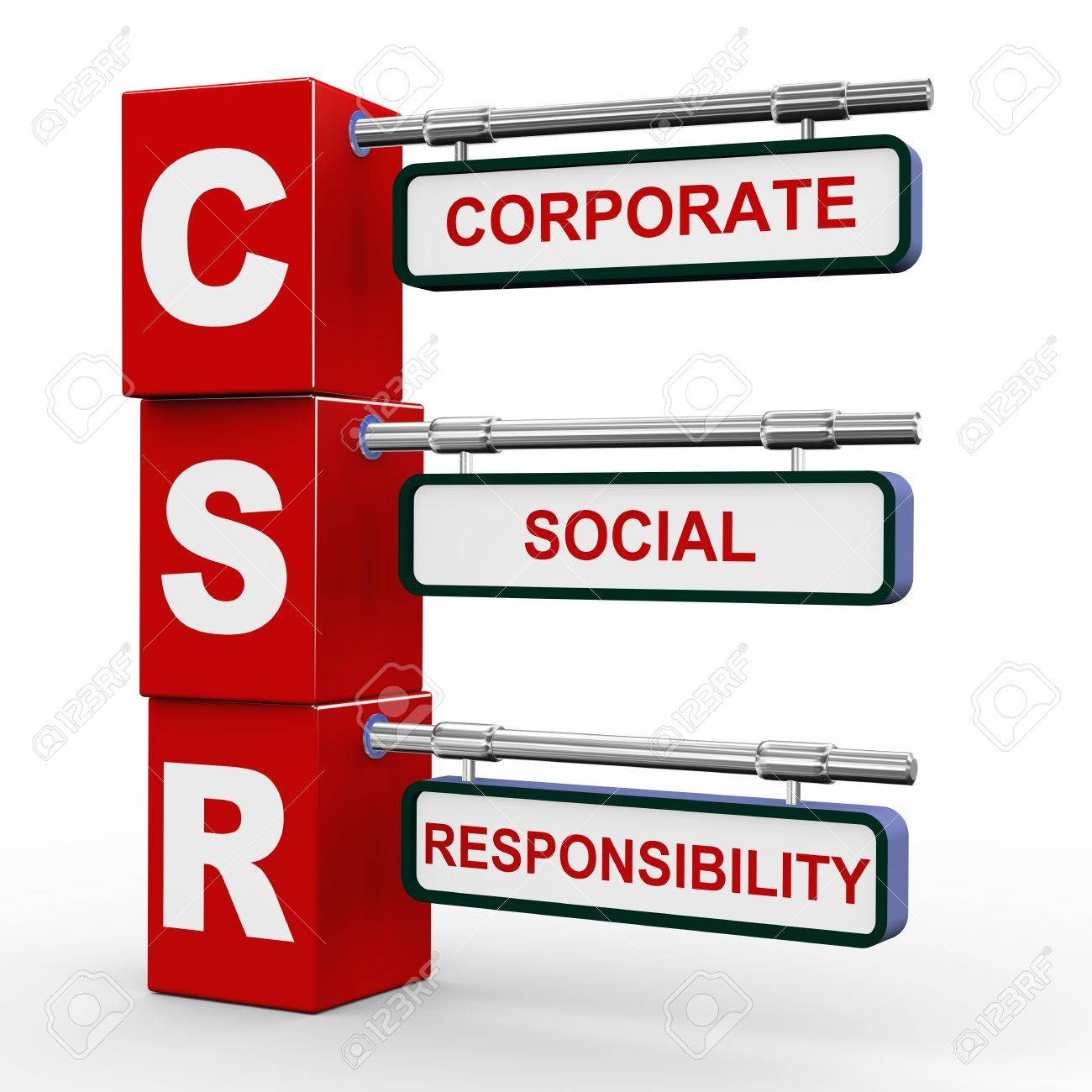 3d illustration of modern roadsign cubes signpost of csr - Corporate Social Responsibility Stock Photo - 17915035