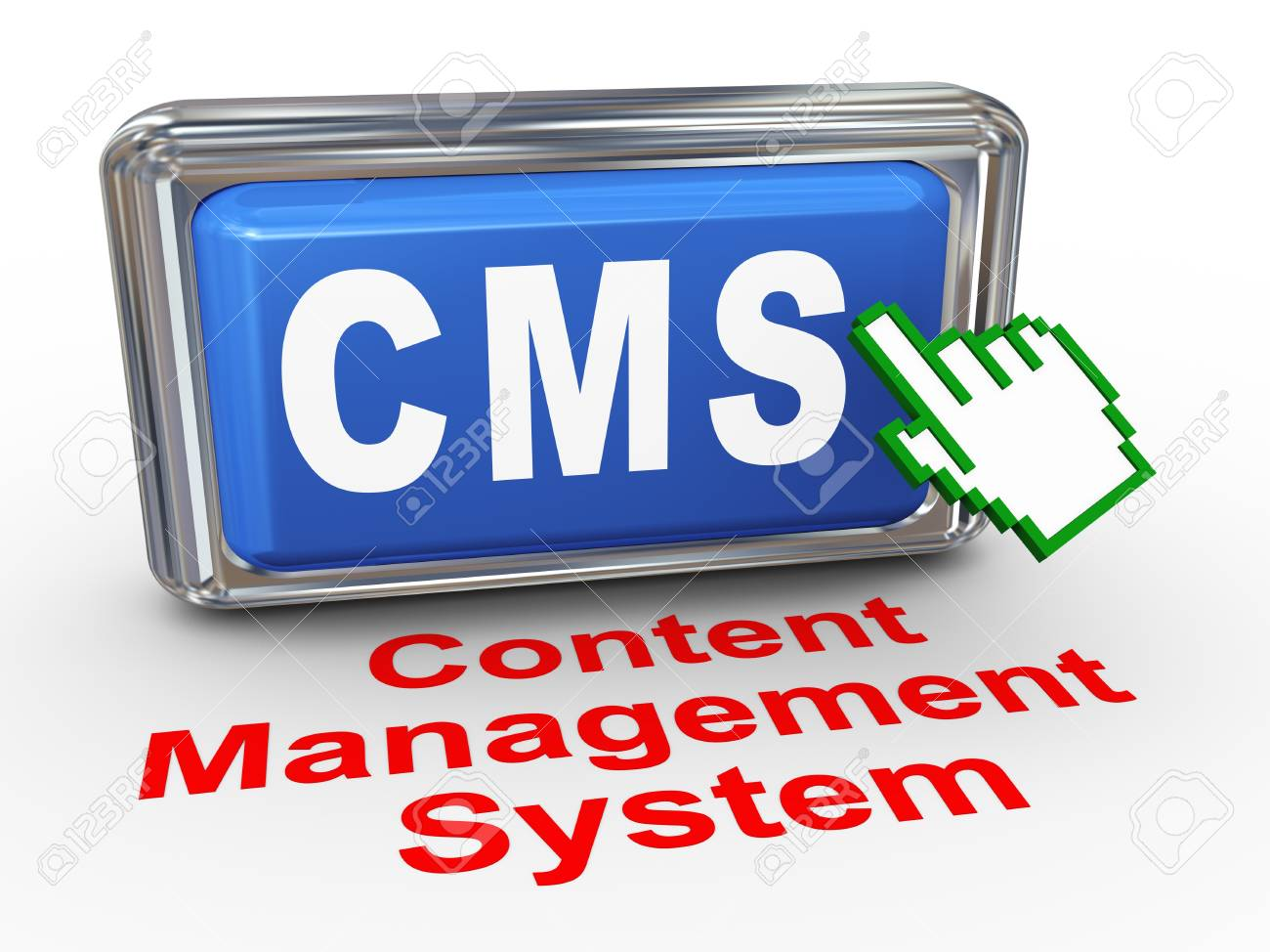 3d render of hand cursor pointer click on button with phrase cms - content management system Stock Photo - 18101643