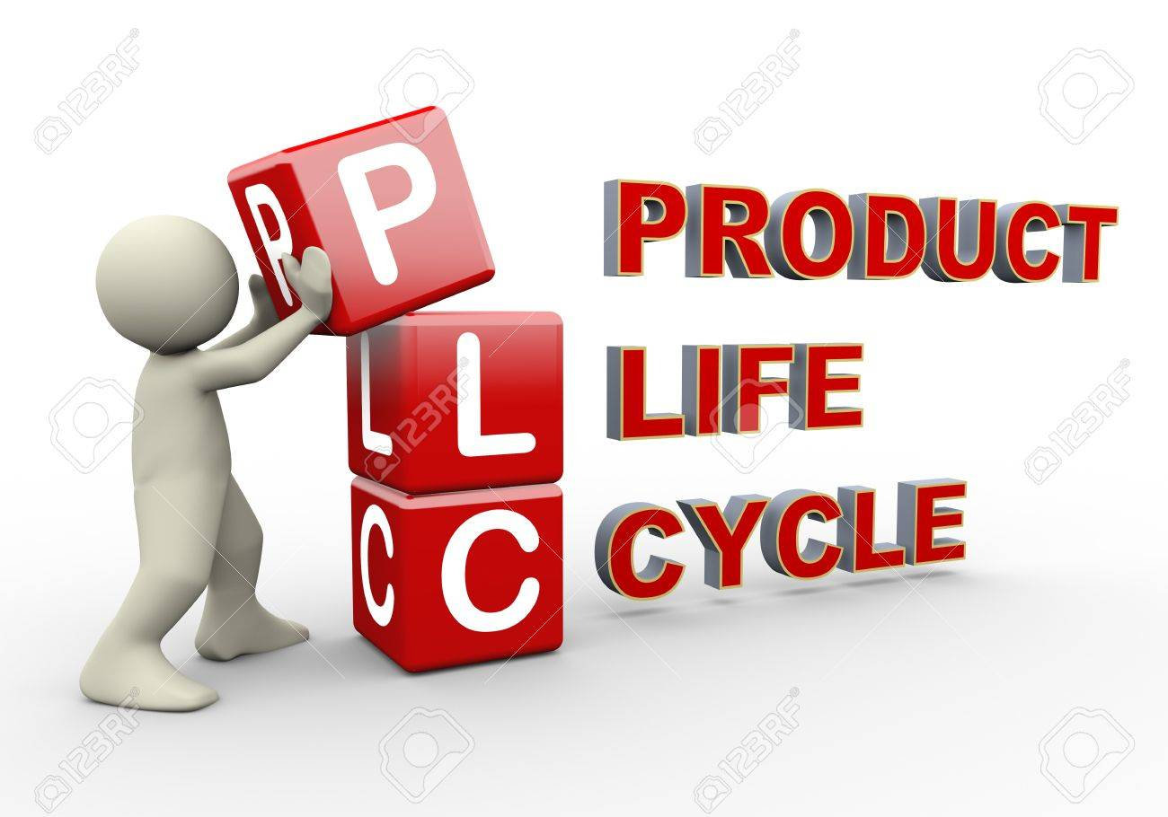 3d person placing plc product life cycle cubes. 3d human people character illustration Stock Illustration - 18295114