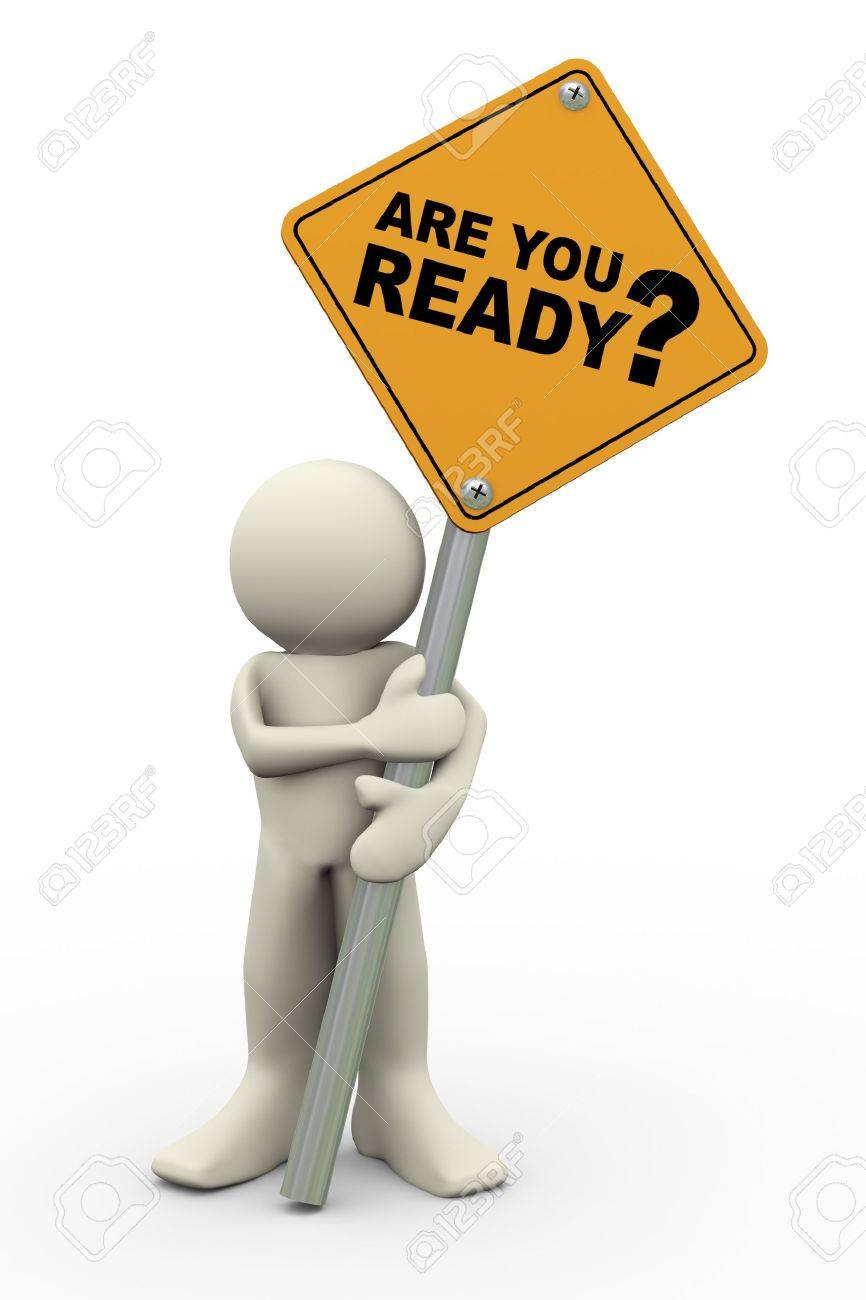 3d illustration of person holding road sign of are you ready  3d rendering of people human character Stock Illustration - 18587451