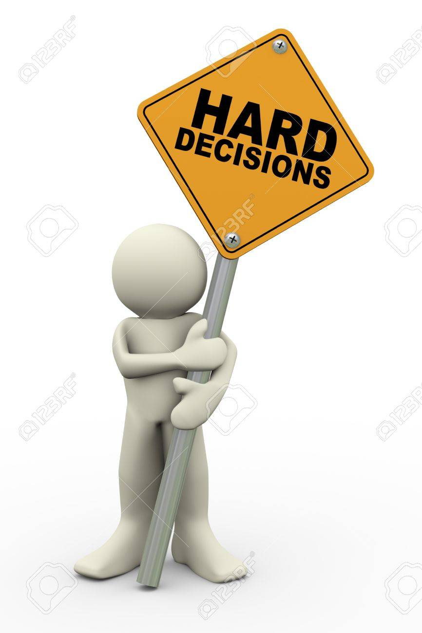 3d illustration of person holding road sign of hard decisions. 3d rendering of people human character. Stock Illustration - 18737513