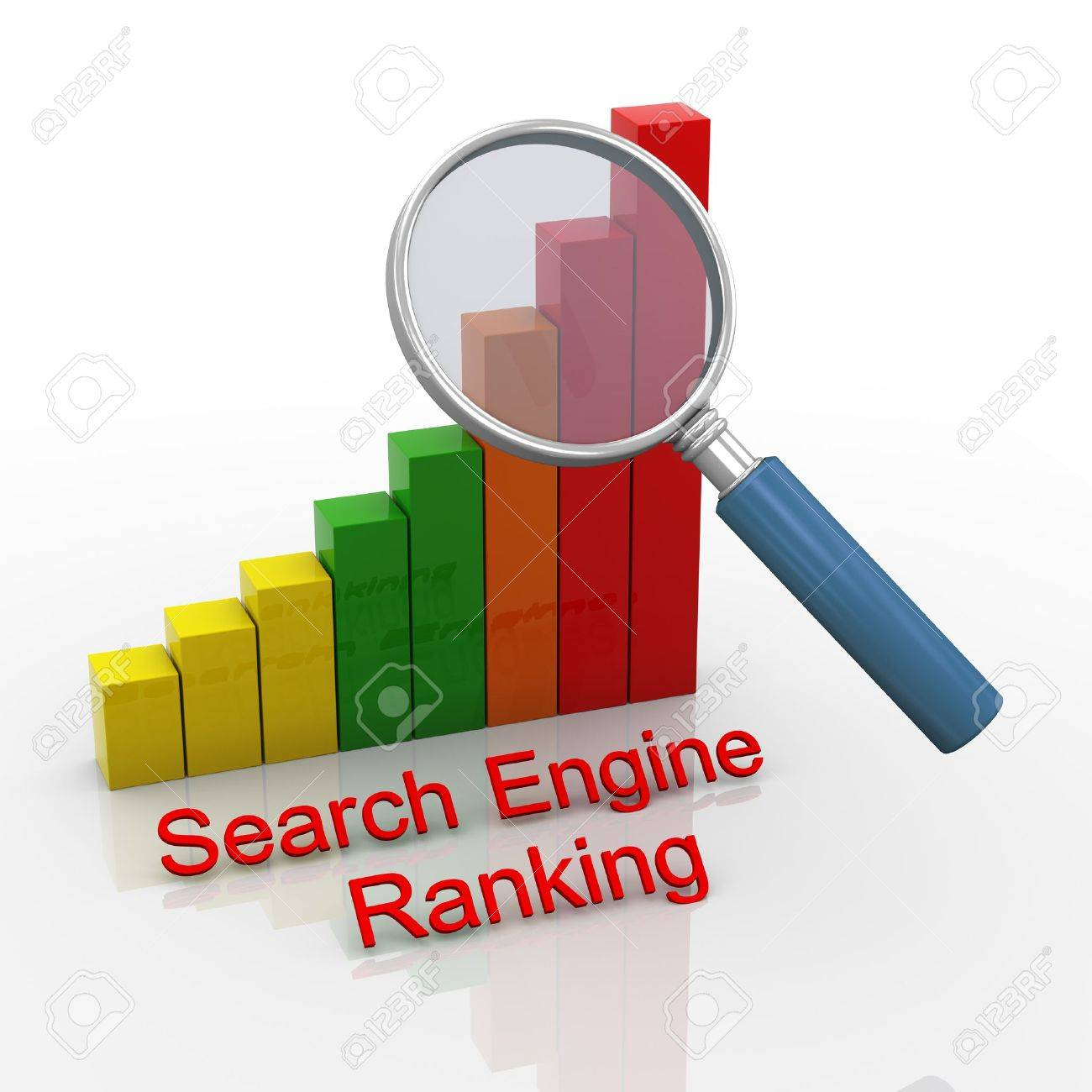 3d render of magnifying glass hover over search engine ranking progress bars chart Stock Photo - 19052801