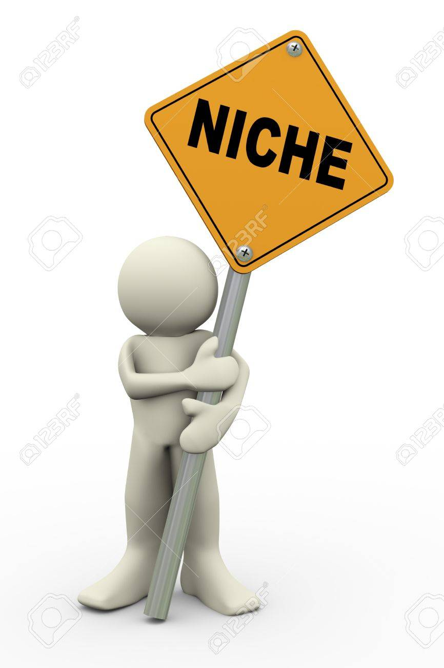 3d illustration of person holding road sign of niche  3d rendering of people human character Stock Illustration - 19638405